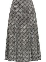 Anna Rose Fit And Flare Printed Skirt Black/Ivory - Gallery Image 1