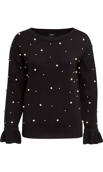 Faux Pearl Embellished Knit Top Black
