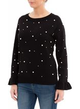 Faux Pearl Embellished Knit Top Black - Gallery Image 2