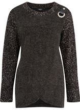 Knitted Wrap Over Top Grey Marl - Gallery Image 3