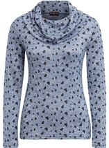 Anna Rose Heart Print Cowl Neck Knit Top