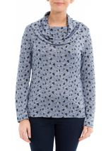 Anna Rose Heart Print Cowl Neck Knit Top Navy/Black - Gallery Image 2