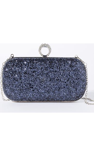 Embellished Glitter Box Clutch Bag Midnight