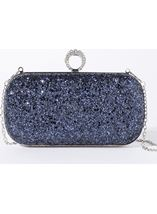 Embellished Glitter Box Clutch Bag Midnight - Gallery Image 1