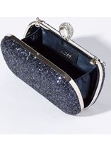 Embellished Glitter Box Clutch Bag Midnight - Gallery Image 2