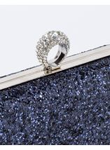 Embellished Glitter Box Clutch Bag Midnight - Gallery Image 3