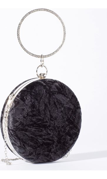 Circular Crushed Velvet Clutch Bag Black