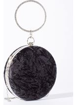 Circular Crushed Velvet Clutch Bag Black - Gallery Image 1