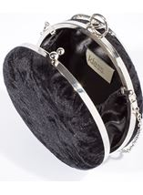 Circular Crushed Velvet Clutch Bag Black - Gallery Image 2