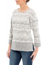 Contrast Split Hem Knit Top Light Grey - Gallery Image 2