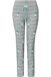 Narrow Leg Check Print Trousers