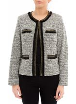 Embellished Long Sleeve jacket Black/Ivory - Gallery Image 2