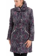 Printed Coat Navy Multi - Gallery Image 1