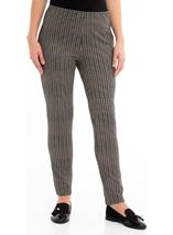 Narrow Leg Stretch Check Trousers Black/Brown - Gallery Image 2