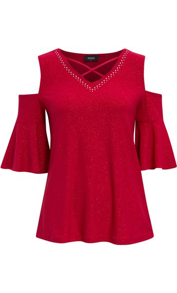 Cold Shoulder Embellished Top Red