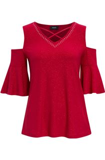 Cold Shoulder Embellished Top - Red