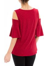 Cold Shoulder Embellished Top Red - Gallery Image 3