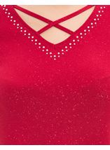 Cold Shoulder Embellished Top Red - Gallery Image 4