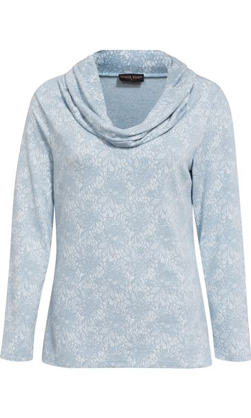 Anna Rose Lace Print Cowl Neck Top Soft Blue