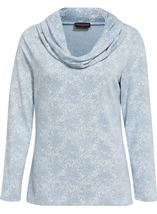 Anna Rose Lace Print Cowl Neck Top Soft Blue - Gallery Image 1
