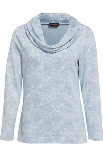 Anna Rose Lace Print Cowl Neck Top