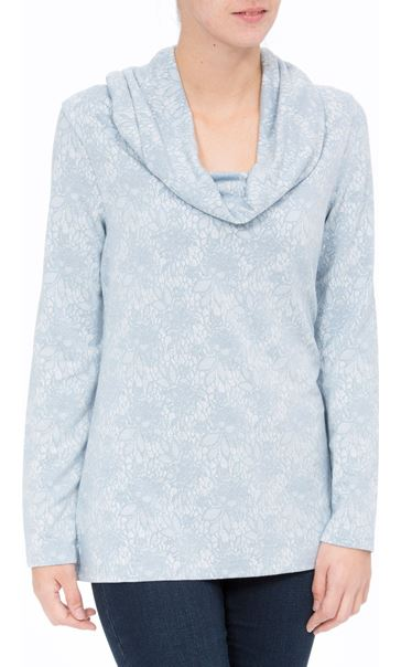 Anna Rose Lace Print Cowl Neck Top Soft Blue - Gallery Image 2