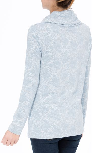 Anna Rose Lace Print Cowl Neck Top Soft Blue - Gallery Image 3