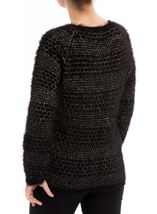 Long Sleeve Feather Knit Top Black/Gold - Gallery Image 2