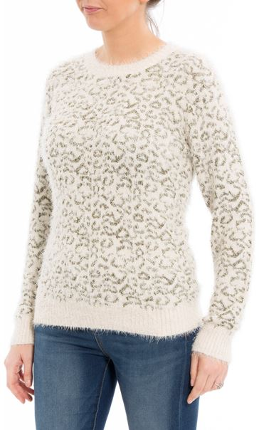 Animal Printed Long Sleeve Feather Knit Top Cream/Gold