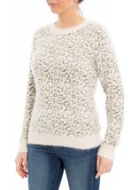 Animal Printed Long Sleeve Feather Knit Top