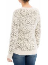 Animal Printed Long Sleeve Feather Knit Top Cream/Gold - Gallery Image 2