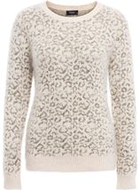 Animal Printed Long Sleeve Feather Knit Top Cream/Gold - Gallery Image 3