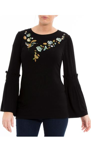 Embroidered Jersey Bell Sleeve Top Black