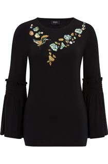 Embroidered Jersey Bell Sleeve Top