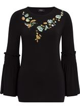 Embroidered Jersey Bell Sleeve Top Black - Gallery Image 2