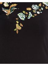 Embroidered Jersey Bell Sleeve Top Black - Gallery Image 4