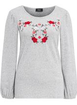 Embroidered Long Sleeve Top Grey Marl - Gallery Image 1