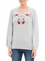 Embroidered Long Sleeve Top Grey Marl - Gallery Image 2