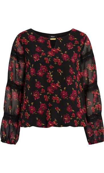 Lace Trimmed Floral Georgette Top Black/Red