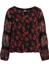 Lace Trimmed Floral Georgette Top Black/Red - Gallery Image 1