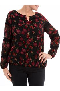 Lace Trimmed Floral Georgette Top