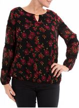 Lace Trimmed Floral Georgette Top Black/Red - Gallery Image 2