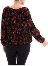 Lace Trimmed Floral Georgette Top Black/Red - Gallery Image 3