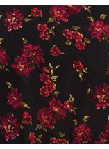 Lace Trimmed Floral Georgette Top Black/Red - Gallery Image 4