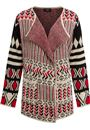 Patterned Open Cardigan Red/Black - Gallery Image 1