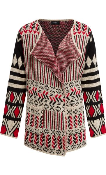 Patterned Open Cardigan Red/Black