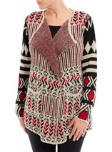 Patterned Open Cardigan Red/Black - Gallery Image 2