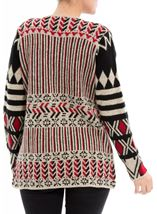 Patterned Open Cardigan Red/Black - Gallery Image 3