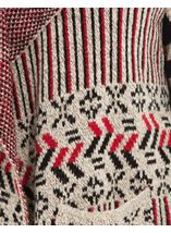 Patterned Open Cardigan Red/Black - Gallery Image 4