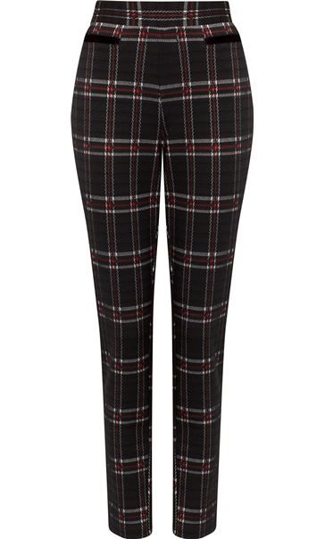 Checked Stretch Trousers Black/Red